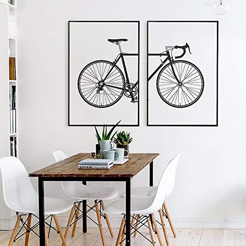 Lienzo Imprimir Estilo Simple Arte Pintura, Bicicleta 2 Piezas Panel Chorro De Tinta Pintura Hogar Salón Pared Decoración Pintura,Noframe,50x70cmx2pcs
