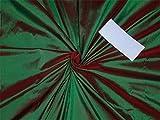 100% Pure Seide Dupionseide Stoff grün x rot 137,2cm by