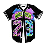 Raylans Camisa de béisbol casual para hombre con estampado floral 3D, de manga corta, con botones, Hombre, BRT-MC011-Color6-2XL, color6, UK XL(Tag 2XL)