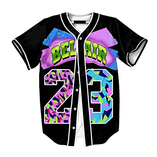 Raylans Camisa de béisbol casual para hombre con estampado floral 3D, de manga corta, con botones, Hombre, BRT-MC011-Color6-XL, color6, UK L(Tag XL)