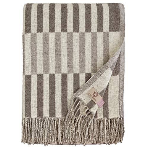 Linen & Cotton Luxus Warme Merino Decke Wolldecke Wohndecke Kuscheldecke FRANS -100% Weicher Merinowolle, Braun (140 x 200cm), Sofadecke/Tagesdecke/Überwurf/Plaid Couch Sofa/Blanket Schurwolle