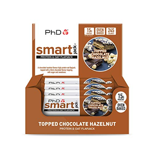 PhD Smart Jack, Protein and Oat Flapjack-Topped Chocolate Hazelnut, 60 g, Pack of 12,