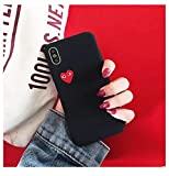 Qinddoo Luxury Brand CDG Play Comme des Garcons Love Heart Matte Case Phone Cover for iPhone 6 s 7 8 Plus X XR XS Max 10 Hard Case-Black,for iPhone 8