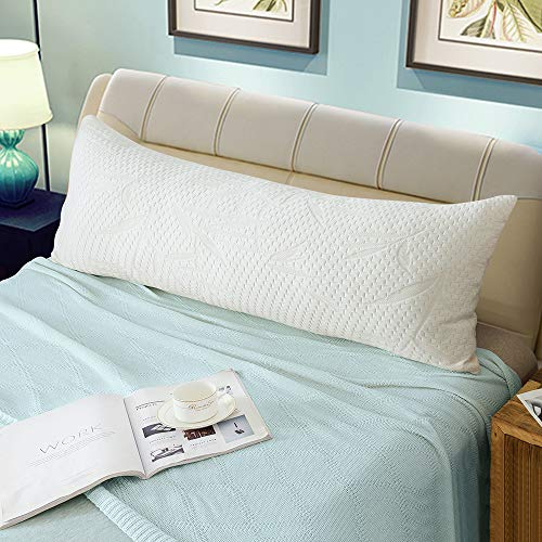 WhatsBedding Full Body Pillows for Adults -Removable Zippered Bamboo Cover Breathable Cooling Bed Body Pillow Long Pillow for Side Sleeper-20 x 54...