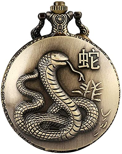 DNGDD Reloj de Bolsillo Reloj de Bolsillo Duradero de Cadena áspera para Mujer, patrón Decorativo de Serpiente, Caja de Bronce, Relojes de Bolsillo para Adolescentes, prácticos números árabes,