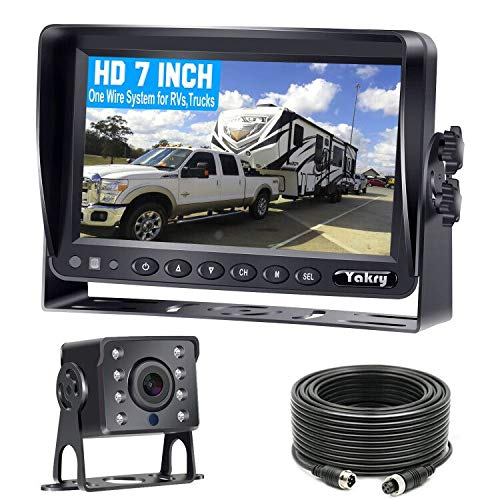 Yakry Y14 HD DIY One Wire System Backup Camera 7 Inch Monitor Kit for RVs,Trucks,Trailers,Campers IP69K Waterproof IR Night Vision Rear View High-Speed Observation System