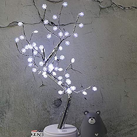 CrystalFlower Adjustable BrancYELITEhes Artificial Tree,Timer Battery Operated for Home Decoration Night Light and Gift LED Tree Light Colorful Flake