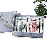 Amycute 2 PCS Taza de Mr y Mrs, 450 ml Tazas De Desayuno Cerámica con Tapa y Cuchara para la Novia y el Novio Boda Creativo para Parejas (Mr y Mrs)