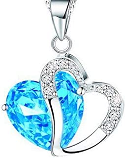 SX Commerce Love Heart Crystal Rhinestone Silver Chain Pendant Necklace Jewelry Gifts for Women Girl