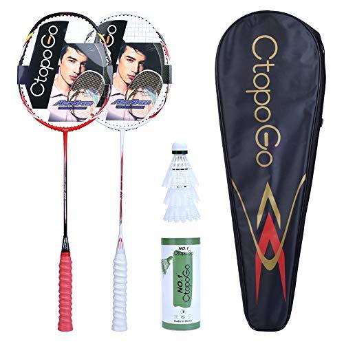 CtopoGo Juego de 2 raquetas de bádminton y 1 bolsa de transporte, 2 unidades, color rojo y blanco