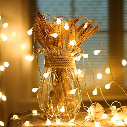 LED-Lichterkette, Kugelform, 80 LEDs, 9 m, 2 Modi, batteriebetrieben, dekoratives Licht, für Schlafzimmer, Hochzeit, Party, Weihnachten, Festival, Baumdekoration, Innenbeleuchtung (warmweiß)