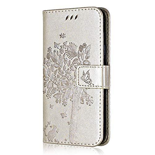 Bear Village Sony Xperia Z5 Compact Hülle, Premium PU Leder Multifunktion Ständer Schutzhülle mit Kartenfach, Geprägter Baum Hülle für Sony Xperia Z5 Compact, Gold