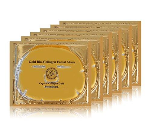 Grace & Stella Anti-Wrinkle + Energizing Gold Collagen Hydragel Face Masks (6 pcs) | Depuffing & Hydrating Facial Sheet Mask | Vegan & Paraben-Free