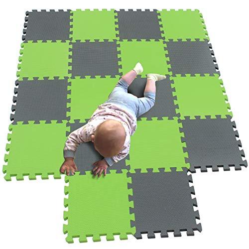 MQIAOHAM 18 pcs krabbeldecke wasserdicht teppich kinder matte für baby puzzle boden matten play gym puzzlematten spielmatten schaum puzzlematte kleinkind schaumstoff Grau Fruchtgrün 112115