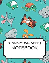 Blank Music Sheet Notebook: Cute Animal Cartoon - Music Manuscript Paper, Staff Paper, Music Notebook 12 Staves, 8.5 x 11, A4, 100 pages