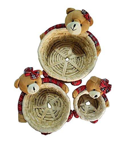 [Belles Bears] Wicker panier de paille boîte de rangement des ménages panier Box
