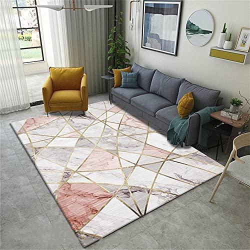 alfombras de Salon Grandes Chica Habitación Cristal Velvet Alfombra Rosa Gris Gold Rectangular Alfombra Oficina decorqcion Dormitorio 160X230CM 5ft 3' X7ft 6.6'
