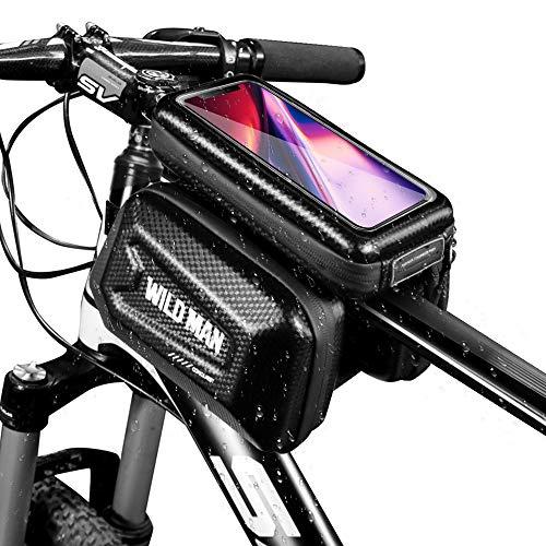 自転車トップチューブバッグ 自転車フレームバッグ 大容量 PU&TPU防水 防圧 防塵 軽量 取り付け簡単 多機種対応 サイクリング用品 ロードバイク/マウンテンバイク/クロスバイク適用