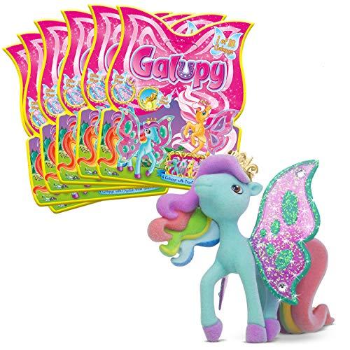 CRAZE Sammelpferde GALUPY Pferdefiguren 6er Set Plüsch-Pony mit Flügeln und Glitzersteinen Pferde Figuren zum Sammeln 27813, 6 Stück