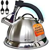 Whistling Tea Kettle with iCool - Handle, Surgical Stainless Steel Teapot for ALL Stovetops, 2 FREE...