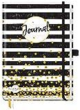 Trendstuff Premium Bullet Journal dotted, Notizbuch A5 gepunktet [Black & White] Tagebuch mit Punkteraster, Gummiband & Stifthalter | robust, biegsam, abwischbares Cover + dickes Papier