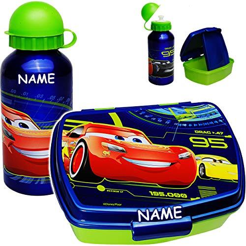 alles-meine.de GmbH 2 TLG. Set _ Lunchbox / Brotdose + Trinkflasche - Disney Cars - Auto - inkl. Name - BPA frei - mit extra Einsatz / Fächern - herausnehmbaren Fach / Sportflasc..