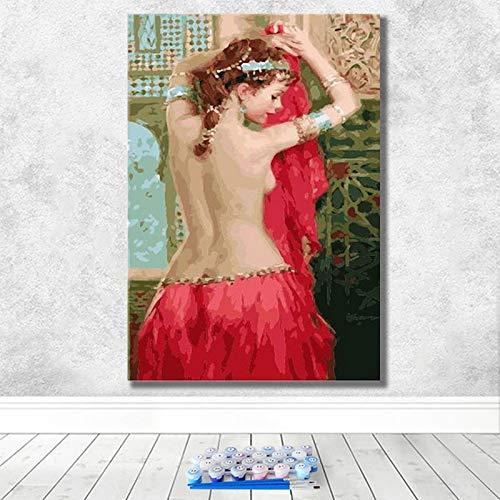 Retro Sexy Nórdica Chica Desnuda Pintura Al Óleo Diy Digital Pintura Al Óleo Pintada A Mano Graffiti Hogar Sala De Estar Dormitorio Pintura Decorativa 50 * 75 Marco interior de pino