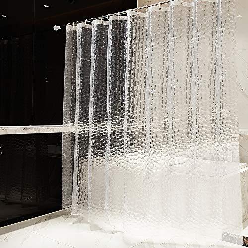 OTraki Cortina Baño Pesado 240 x 200 cm Impermeable Antimoho EVA Cortina de Ducha Larga Sin PVC Cortina Bañera 3D Efecto Semi-Transparente Lavable Shower Curtian