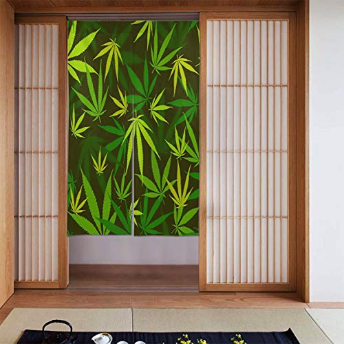 Cyloten Bamboo Leaf Green and Yellow Doorway Curtain Door Hanging Tapestry Lightweight Partition Door Curtains Privacy Home Decor Window Drapery for Bistro Fitting Room Kitchen Closet
