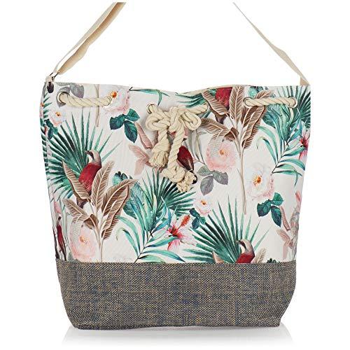 com-four® Bolsa de Playa Grande - Bolsa de Piscina Moderna para Utensilios de Playa - Bolso de señora para Compras - Bolsa de Hombro para Playa, Piscina, Vacaciones (Beige - Floral con pájaro)