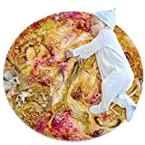 Hohohaha - Alfombra redonda de algodón para niños y niñas, diseño de Irán, Multi02, 80x80cm/31.5x31.5IN