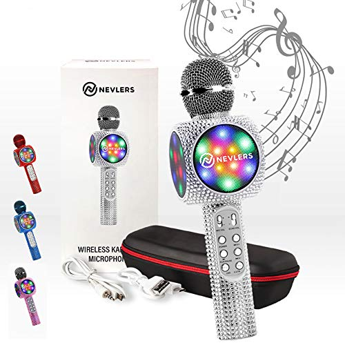 NEVLERS Karaoke Microphone with Wireless Bluetooth Speaker, Voice Changer and Colorful LED Lights, Easy To Use Portable Karaoke Machine for Kids and Adults - SILVER BLING