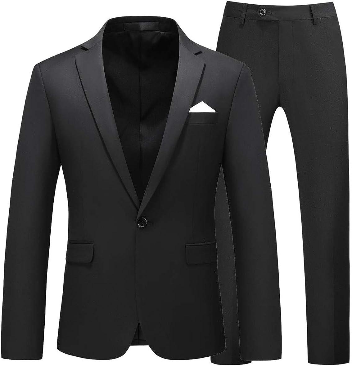 MOGU Mens Slim Fit 2 Piece Suit One Button Notch Lapel Tuxedo for Prom (Suit Jacket + Pants)