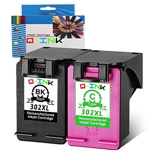 QINK 2PK 302 Wiederaufbereitete Tintenpatrone Ersatz für HP 302XL Verwenden für HP Envy 4524 4520 4527 4522 4521, Deskjet 2130 3633 3631, Officejet 4654 3831 4658 3834 4655 4657 (1 Schwarz 1 Farbe)