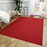 Rubber Backed Area Rug, 39 x 58 inch, Solid Red, Non Slip, Kitchen Rugs and Mats