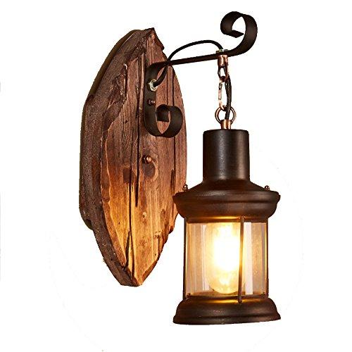 Industrielle Retro Wandlampe Minimalistisches Design Treppenhaus Balkon Restaurant Schmiedeeisen Aus Holz Europäische Lampen 13 8 In Höhe (in),Leaves