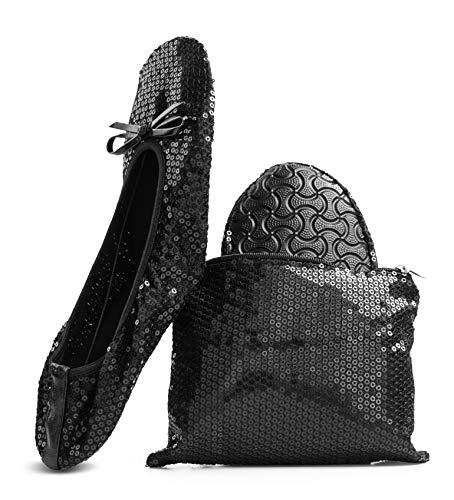 Women's Foldable Portable Travel Ballet Flat Roll Up Slipper Shoes (Large, Black - Sequins)