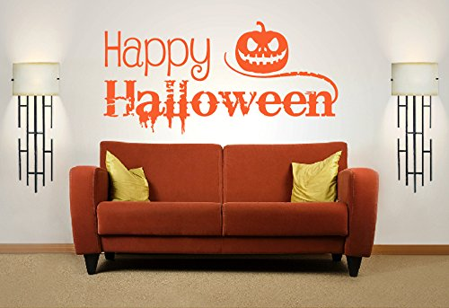 Happy Halloween Zitat, Vinyl Wandkunst Aufkleber. Wandbild, Aufkleber. Zuhause, Wanddekor. Kürbis, Jack O Laterne