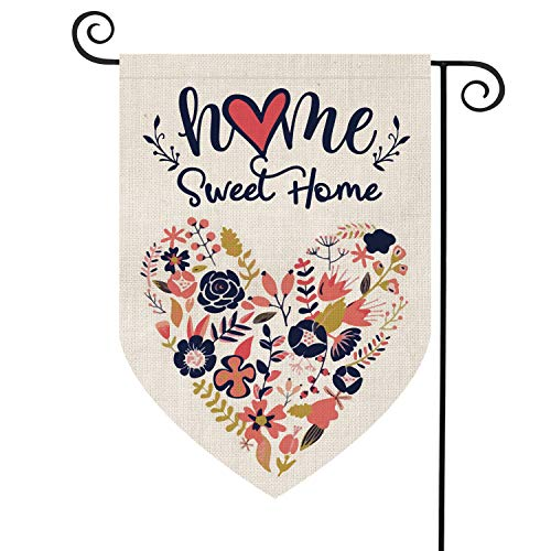 AVOIN Home Sweet Home Garden Flag Vertical Double Sided Floral Love Heart, Navy Blue Flower Rustic Modern Farmhouse Yard Outdoor Decoration 12.5 x 18 Inch