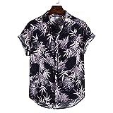 JJZSL Hombre De Algodón Lino De Manga Corta Étnica Casual Impresión Suelta T Hawaiian Shirt Blusa Beachwear Hip Hop Buttons Camisas (Color : A, Size : M code)