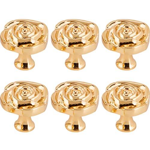 YHRJ Maniglia Maniglia Cassetto Piccola Rosa Dorata,Maniglie per Mobili per La Casa,Maniglia in Rame per Scarpiera Porta,Accessori Hardware per Mobili (Color : Gold, Size : 3.1CM*6)