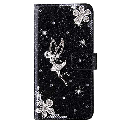 Blllue Wallet Case Compatible with OnePlus 7 Pro, Bling Glitter Angel Diamond Pu Leather Flip Phone Capa for para OnePlus 7 Pro - Black