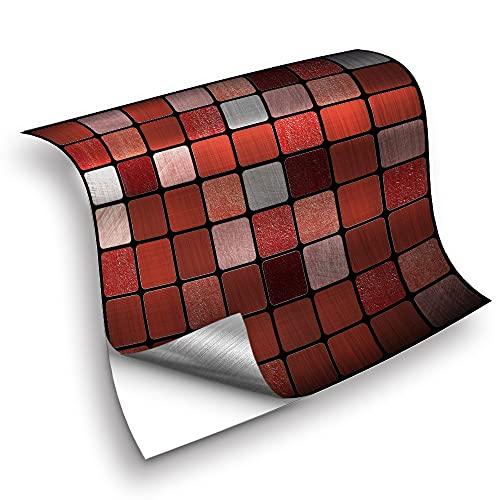 azulejos adhesivos cocina,25 piezas de pegatinas de azulejos de mosaico rojo, pegatinas de pared autoadhesivas a prueba de agua de cocina pegatinas de azulejos -20cm