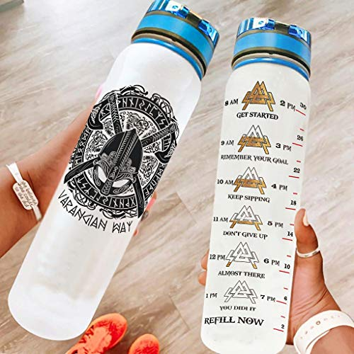 Viking Tattoo Axe Valknut Inspirational Water Bottle Eco-Friendly Tritan Water Bottle with Time Marker Leak Proof Plastic Water Bottle for Camping Workouts Gym White 1000ml