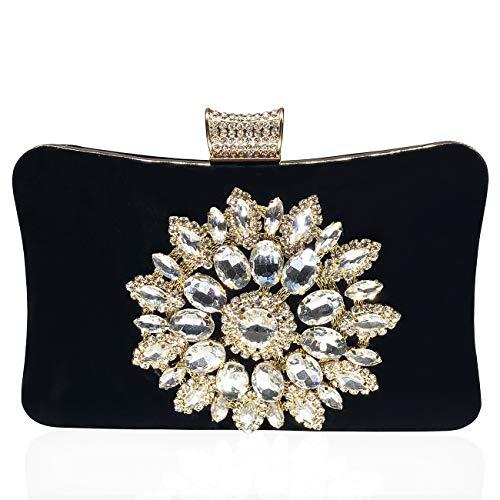 Jo&fo Damen-Clutch, Geldbörse, Tasche mit Kristall, Umschlagform, mit Perlen, für Ball, Hochzeit, Abendveranstaltung, Handtasche, Schwarz - Schwarz mit weißem Kristall - Größe: Medium