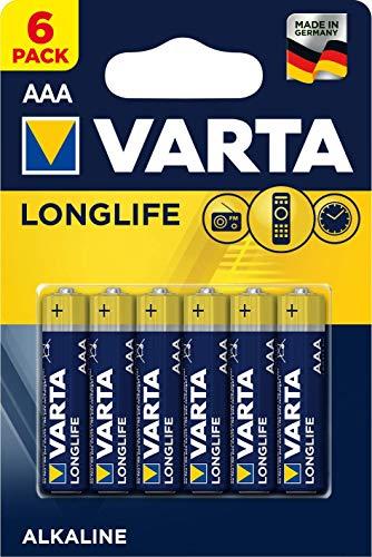 VARTA Longlife AAA Micro LR03 Batterie (6er Pack) Alkaline Batterien – Made in Germany – ideal für Fernbedienung Radio Wecker und Uhr