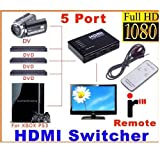 5 HDMIスイッチャー リモート切り替え HDMIスイッチ 5 IN 1 OUT(5 Port 1080P Video HDMI Switch Switcher Splitter for HDTV PS3 DVD with IR Remote )