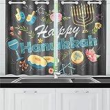 JOCHUAN Joyeux Hanoukka Cuisine juive de Vacances Rideaux Fenêtre Rideau Niveaux pour Café Bath Blanchisserie Salon Chambre 26 * 39 Pouce 2 Pièces