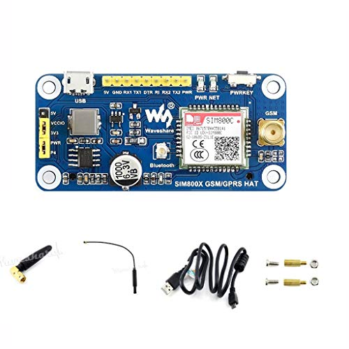 waveshare gsm/GPRS/Bluetooth Hat for Raspberry Pi 3B+/3B/2B/Zero/Zero W Based on SIM800C, Allow Pi to Send Messages, Connect to Wireless Internet, Transfer Data Via Bluetooth, UART Interface