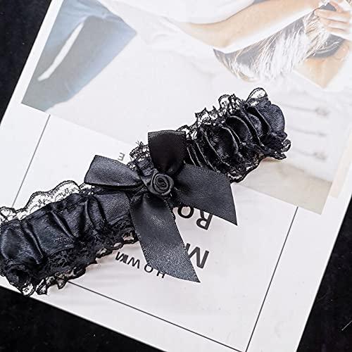 zhongbao Liguero nupcial para mujer, lazo, lencería sexy, liguero floral de encaje, lazo, lazo, lazo, liguero de boda, novias, cosplay, moda, liguero de novia (color: A, tamaño: 17 x 4 cm)